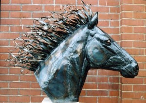 Untitled-Life-size-horse-head-in-beaten-and-welded-steel.